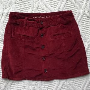 American Eagle Red Corduroy Button Up Skirt